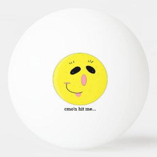 Grappig Gelukkig Gezicht met Spreuk Pingpongbal