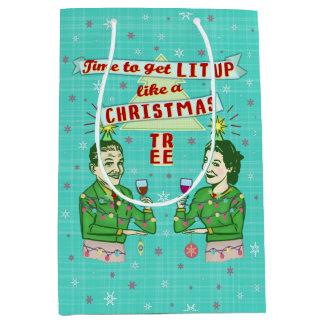 Grappig het Drink van Kerstmis Retro Lit van het Medium Cadeauzakje