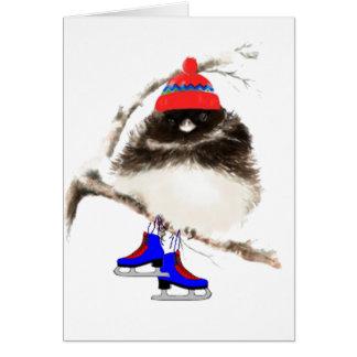 Grappig het Schaatsen Kuiken, de Leuke Vogel van Wenskaart