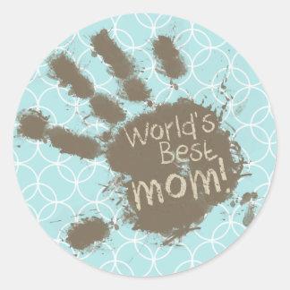 Grappig Mamma; De Blauwe Cirkels van het baby Ronde Sticker