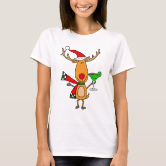Grappig Rendier die Margarita Christmas Art drink T Shirt