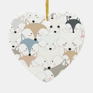 Grappig van de cartoon leuk vos of wolf patroon keramisch hart ornament