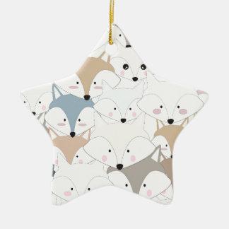 Grappig van de cartoon leuk vos of wolf patroon keramisch ster ornament