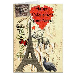 Grappig vintage Parijs Valentijn Wenskaart