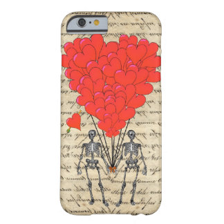 Grappig vintage Skelet en rood hart Barely There iPhone 6 Hoesje