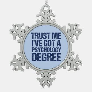 Grappig voor afgestudeerden in de psychologie tin sneeuwvlok ornament