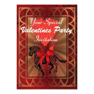 Grappig zebra & de Valentijnse partij van het 12,7x17,8 Uitnodiging Kaart