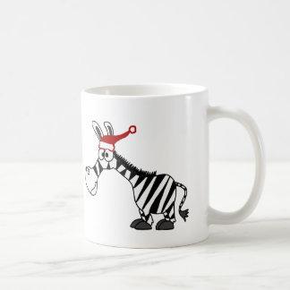 Grappig Zebra in de Cartoon van Kerstmis van het Koffiemok