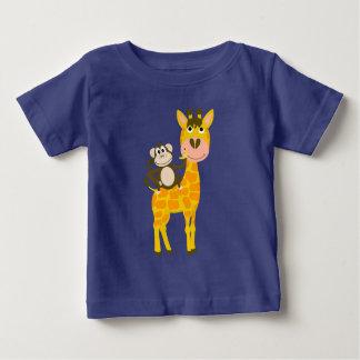 Grappige Aap die een Cartoon van de Giraf berijden Baby T Shirts