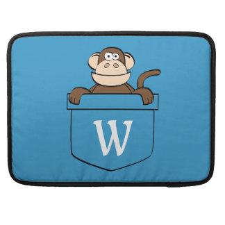 Grappige Aap in een Zak Met monogram MacBook Pro Beschermhoes