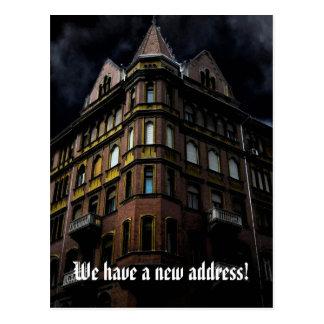 Grappige adreswijziging met spookhuis briefkaart