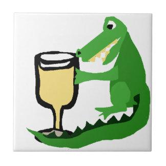 Grappige Alligator die Glas Witte Wijn drink Tegeltje