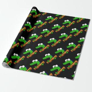 Grappige Alligator die het Kunstwerk van het Bacon Inpakpapier