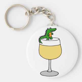 Grappige Alligator op het Glas van de Wijn Sleutelhanger