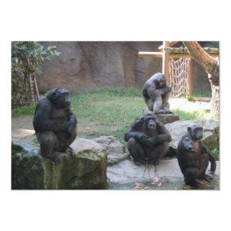 grappige apen 12,7x17,8 uitnodiging kaart