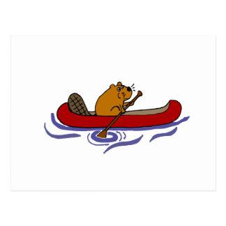 Grappige Bever die in Rode Kano roeien Briefkaart