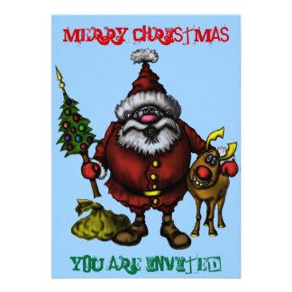 Grappige de uitnodigingskaart van Kerstmis