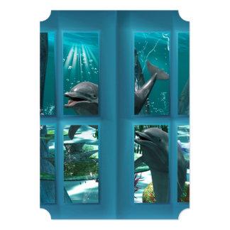 Grappige dolfijnen 12,7x17,8 uitnodiging kaart