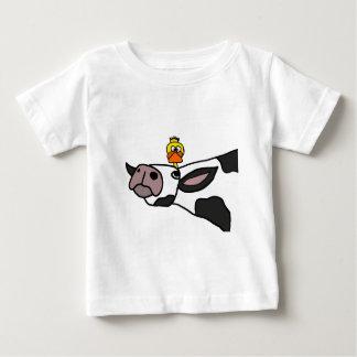 Grappige Eend op een Cartoon van de Koe Baby T Shirts