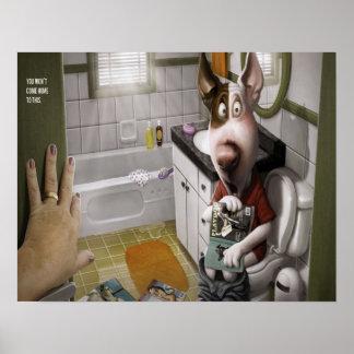 Grappige en Leuke Hond in de Badkamers Poster