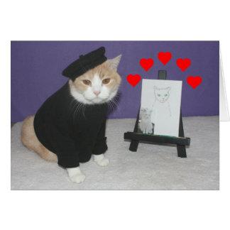 Grappige Franse Kat Valentijn Wenskaart