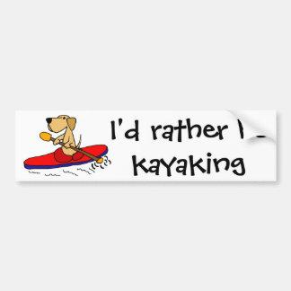 Grappige Gele Labrador Kayaking Bumpersticker