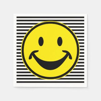 Grappige gele Smiley & strepen + uw backg. & idee Wegwerp Servetten
