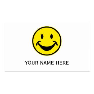 Grappige gele Smiley + uw backg. & ideeën Visitekaartjes