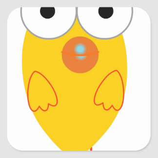 Grappige Gele Vogel Vierkante Sticker