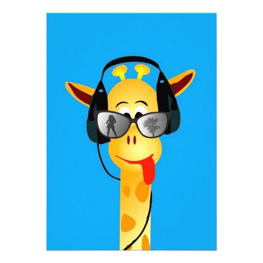 grappige giraf met grappige de glazen van de hoofd uitnodigingen