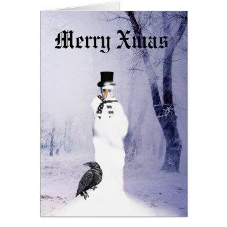 Grappige Gotische Kerstmis van de Sneeuwman Kaart