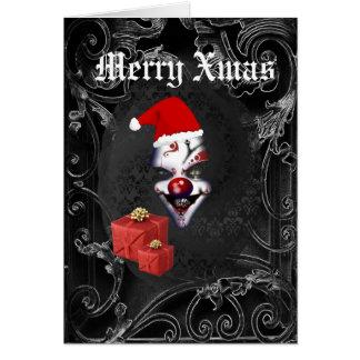 Grappige gotische santa zwarte Kerstmis Kaart