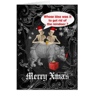 Grappige gotische skeletten zwarte Kerstmis Kaart