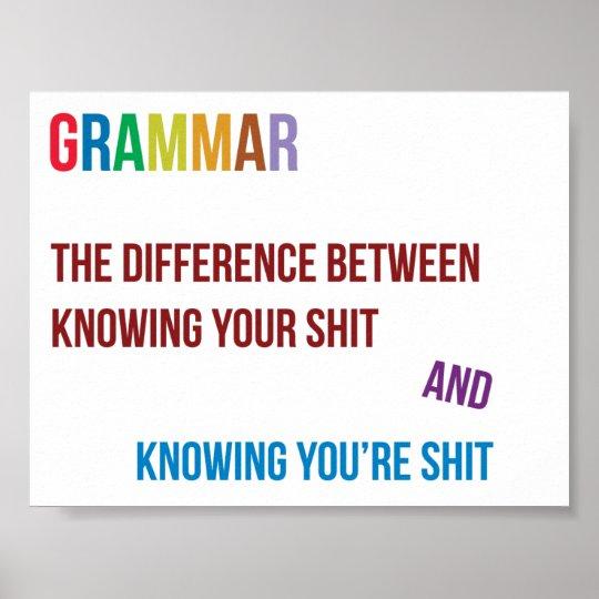 Grappige gramatica poster