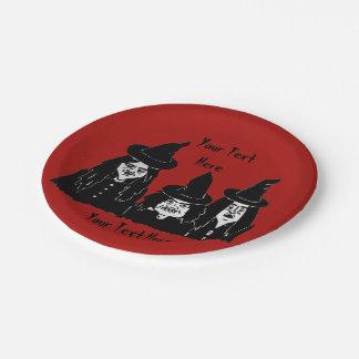 grappige griezelige zwarte heksen enge Halloween Papieren Bordje