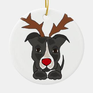 Grappige Grijze Hond Pitbull als Rendier van Rond Keramisch Ornament