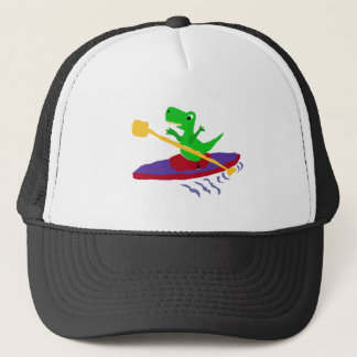 Grappige Groene t-Rex Dinosaurus Kayaking Trucker Pet