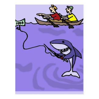 Grappige Haai die met Geld vissen Briefkaart