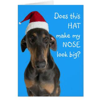 Grappige hond met de Kerstkaart van het Pet van de Kaart