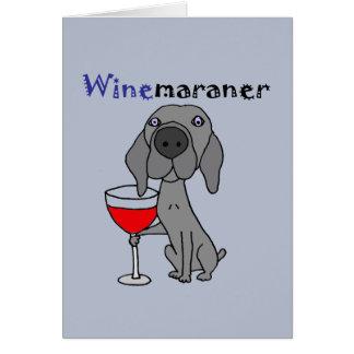 Grappige Hond Weimaraner die Rode Wijn drink Kaart