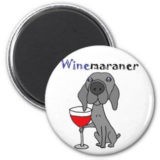 Grappige Hond Weimaraner die Rode Wijn drink Magneet