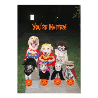 Grappige Honden & Katten Halloween 12,7x17,8 Uitnodiging Kaart