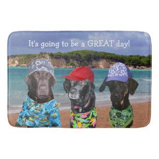Grappige Honden op de Badmat van het Strand