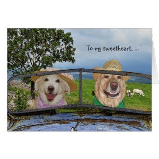 Grappige Honden Valentijn voor Liefje Wenskaart