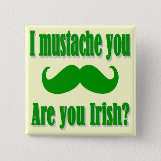 Grappige Ierse snorSt Patrick dag Vierkante Button 5,1 Cm