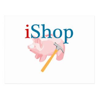 Grappige iShop met Piggybank en Hamer Briefkaart