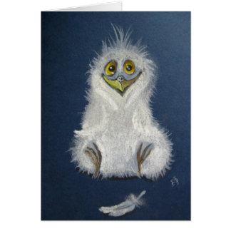 Grappige jonge uil - babyvogel wenskaart