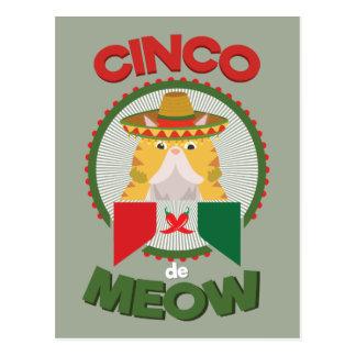 Grappige Kat voor de Mexicaanse Vakantie van Cinco Briefkaart