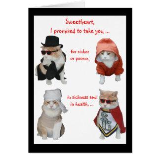 Grappige Katten Valentijn/Jubileum Wenskaart
