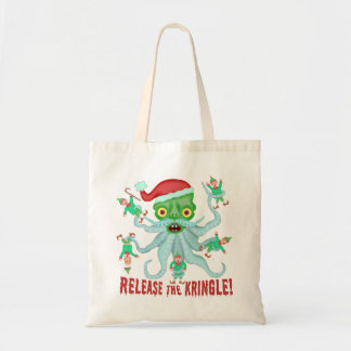 Grappige Kerstmis geeft Kringle de Kerstman vrij Draagtas